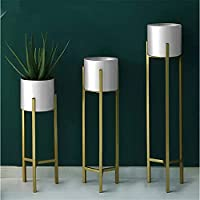 SKAFA Plant Stand, 3 pcs Modern Planters for Indoor Plants, Metal Floor Planter Set with Foldable Stand(Pack of 3…