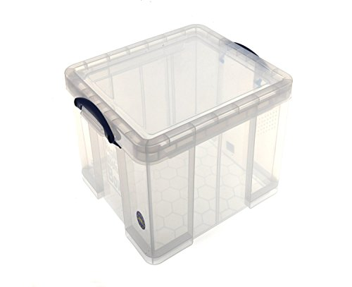 really useful storage box plastic lightweight robust stackable 42 litre clear ref 42c