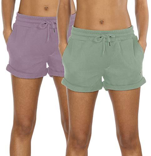 icyzone Damen Sweatshorts 2er Pack Kurze Sporthose Gym Fitness Shorts (S, Cameo Green/Lilac)
