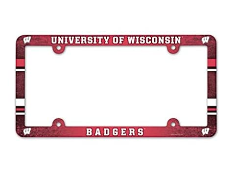 NCAA Wisconsin Badgers Full Color License Plate Frame, Team Color, One Size