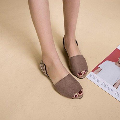 COOLCEPT Damen Mode Slip On Sandalen Flach Peep Toe Schuhe Gr Kaffee