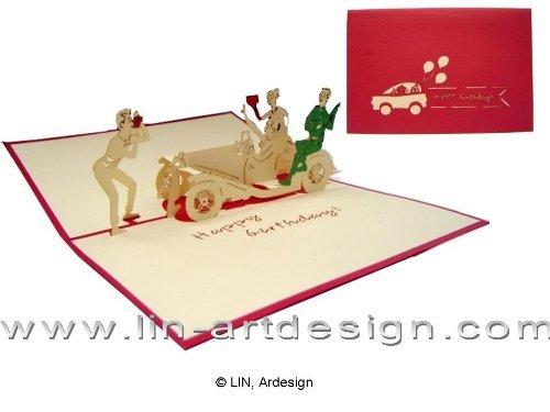 LIN-POP UP Grußkarten zum Geburtstag, Geburtstagskarten Grußkarten Glückwunschkarten, Party Feier Auto Oldtimer