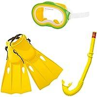 Intex 55955 - Set de tubo, máscara y aletas de buceo policarbonato, talla 38-40