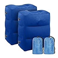 2 pcs Inflatable Travel Foot Rest Pillow | Kids Airplane Bed | Adjustable Height Leg Pillow | Make a Flat Bed for Kids and Toddlers | Great for Airplane, Train, car (blue)