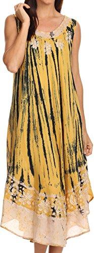 Sakkas 15009 - Alexis gesticktes langes Sleeveless BlumenKaftan Kleid/Abdeckung Oben - Senf Gelb - OS -