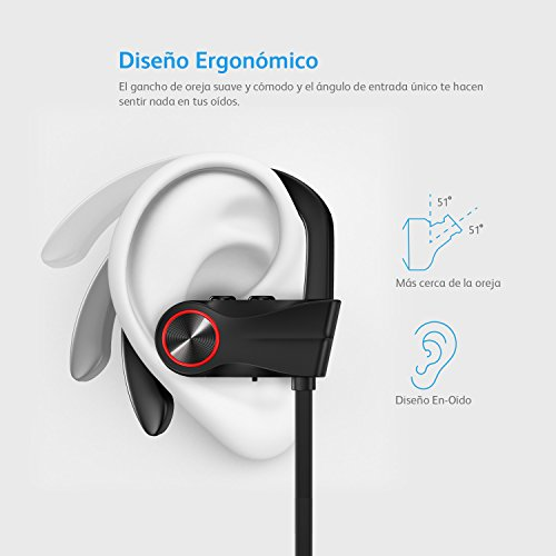 Auriculares Bluetooth Inalambricos IPX7 Winisok Auricular Bluetooth 4.1 Deportivos Cancelación de Ruido con Manos Libres para Correr In ear con Micrófono para iPhone Samsung Huawei Sony
