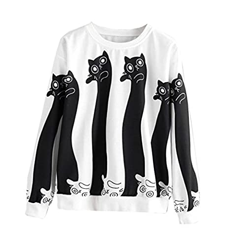 HCFKJ Femmes Rondes Cou Chat Long Manches Occasionnels Sweatshirt Pull Tops Shirt Chemisier (S, Blanc)
