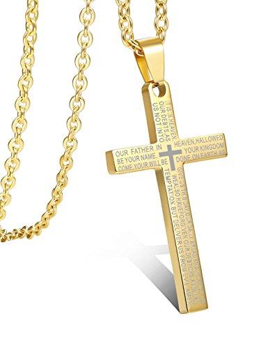 BE STEEL Edelstahl 3MM Kreuz Anhänger Halskette für Herren Damen Kette Englische Bibel Lord Gebet Kreuz Kabel Kette 61CM Weiß/Gold-Ton/Schwarz