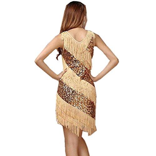 Wgwioo High-End-Pailletten Quaste Frau Latin Dance Rock , Gold , (High Tanz Lyrischer End Kostüme)