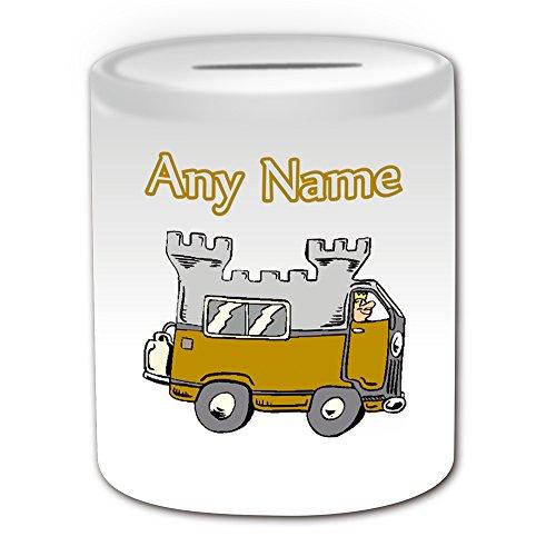 Personalisiertes Geschenk -: Spardose (Design Thema, weiß)-Für jede Nachricht/Name auf Ihrem Einzigartig-Camper Van Mobile Wohnmobil auto-sleeper Castle Travel caravanette Treiber -