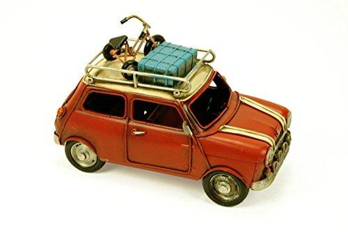 Figura Decorativa de Metal 'Coche Mini Antiguo Rojo'. Vehículos. Adornos y Esculturas. Coleccionismo. 32 x 15 x 15 cm.