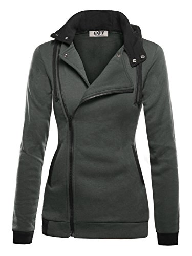 DJT Damen Sweaters Hoodie Sweatshirt Schraeg Zipper Kapuzenpllover Dunkelgrau-2 2XL (Hoody College Sweatshirt)