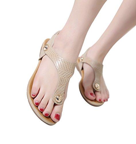 fecho Bege Mulheres Menina Zoerea Couro Zehentrenner Verão Plana Sandálias Da De Sapatos Suave T Das fTZ8gwqC