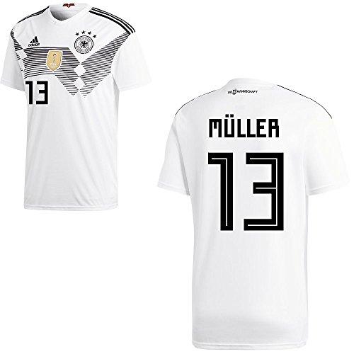 Adidas DFB Deutschland Fußball Trikot Home Heimtrikot WM 2018 Herren Kinder mit Spieler Name Farbe Müller, Größe S