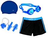 #6: Goldeng Girl Swimming Kit (Silicon Cap, Silicon Ear Plug, Swimming Nose Clip, Swimming Goggles With Authentic Men Adult Swim Trunks Boxer Nylon (Swimming Kit )