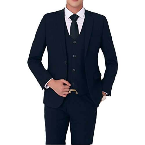 yffushi da uomo due pulsanti stile Casual Suit Blazer 2pezzi Dark Blue XL