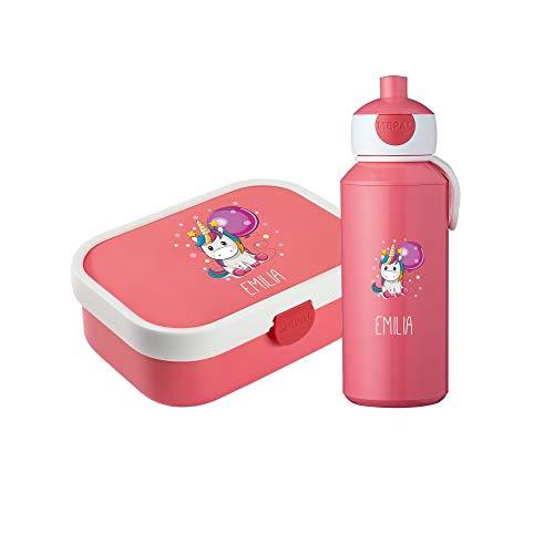 4you Design Set ♡ Brotdose & Trinkflasche Einhorn ♡ Mepal Campus + Bento Box & Gabel - Schule - Kindergarten - Geschenk ♡ 6 Farben (Pink)