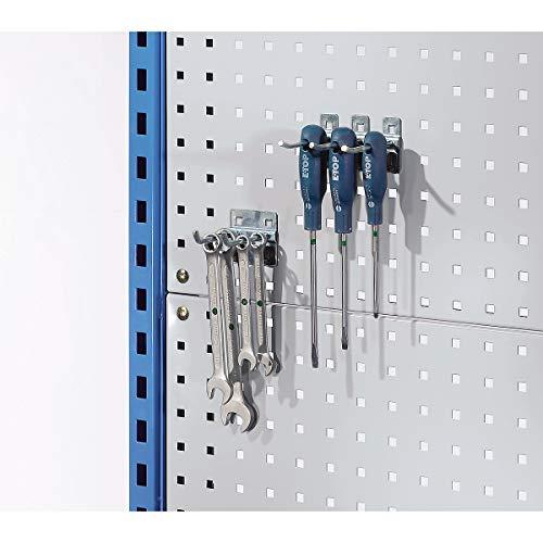EUROKRAFT Lochplattenaufbau für Montagewagen - mit 2 Lochplatten in Weißaluminium - LxB 1086 x 960 mm - Lochplatte Lochplattensystem Schlitzplatte Werkstattaufbau Werkstattaufbauten