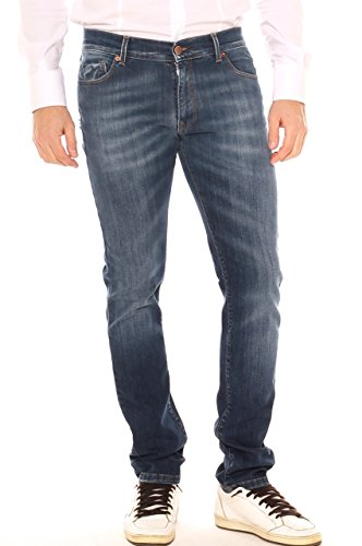 Jeans a Sigaretta Uomo in Denim Cotone Stretch StoneWashed
