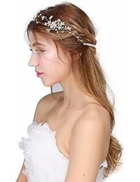 iEFiEL Diadema Flexible de Flores Brillante Elegante Tocados de Pelo Boda Fiesta de Perlas Ariticiales Rhinestone