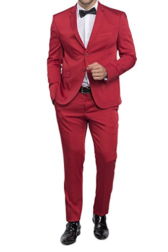 Slim Fit Herrenanzug in Satin Rot (Hose Satin Wool)