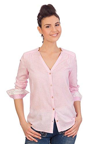 Spieth & Wensky Trachten Bluse, Langer Arm - BELLINDA - offweiß, rosé, Größe 36