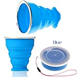 3ZFAMILYRetractable Collapsible Portable Silicone Outdoor Travel Drinking Cup for travelling, camping, hiking & commuting to work. Portable Silicone Retractable Telescopic Folding (Blue)