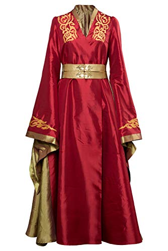 Queen Thrones Of Für Erwachsenen Kostüm - Manfu Game of Thrones Queen Cersei Lannister Cosplay Kleid Halloween Kostüm Rot Damen L