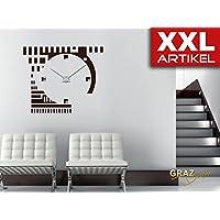 Wandtattoo Wanduhr XXL Retro Style Rund Mit Uhrwerk (Uhr Silber/Aufkleber  Türkis)