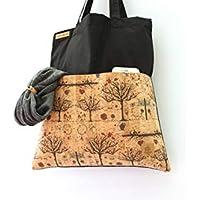 Tasche aus Baumwolle in SCHWARZ mit 2 Aussen-Taschen aus Kork-Leder in TREES.