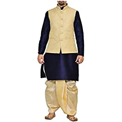 Mag Men's Navy Blue Kurta Gold Dhoti With New Gold Jacket (RG-5267-42)