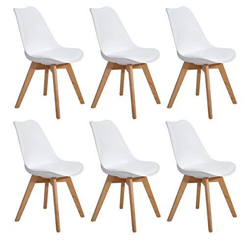 EGGREE 6er Set Esszimmerstühle Skandinavisch Küchenstuhl Stühle Modern mit Massivholz Eiche Bein und Kunstlederkissen, Weiß (Weiß Modern Esszimmer-set)