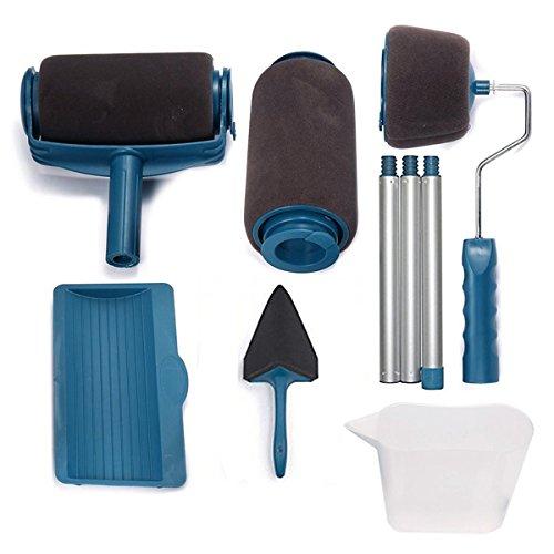Haehne Rodillo de pintura, equipo de brocha Pro Pintar Corredor, extensión de pintura, sistema autónomo de pintura, goteo y salpicadura, cortador de esquina y vertedero de fácil flujo