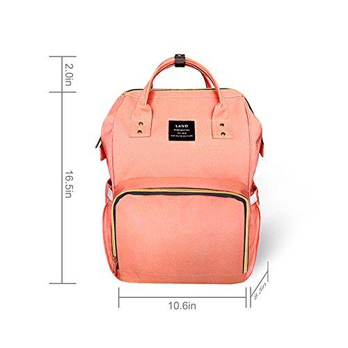 HEYI Baby Wickeltasche Reise Rucksack,Isolierte Tasche, Wasserdicht Stoffe, Multifunktional, Passform für Kinderwage, Große Kapazität Modern Einzigartig Tragbar Handtasche Organizer (Leinen grau) Orange