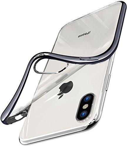 iPhone X Hülle, TOZO TPU Weich Durchsichtig Transparent Ultra Dünn[1.0mm] Schutzhülle für iPhone 10 / X Case Cover(Schwarz)