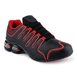 Fusskleidung Herren Damen Sportschuhe Dämpfung Neon Laufschuhe Gym Sneaker Unisex Schwarz Red EU 44
