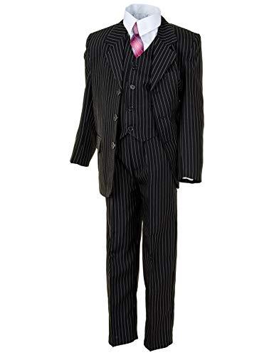 WEI KE XI Festlicher 5tlg. Jungen Anzug in vielen Farben mit Hose, Hemd, Weste, Krawatte und Jacke M313Nsw Schwarz Nadelstreifen Gr. 12/140 / 146 -