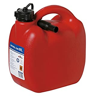 Durable Red Plastic Jerry Fuel Oil Water Petrol Can Container & Funnel (Large -20L)