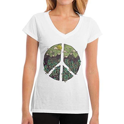 T-Shirts Nature Peace Sign Damenmode Kurzarm V-Ausschnitt T-Shirts - Ecko Jungen Shorts