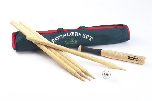 Garden Games Quality Traditional Rounders Set with Ash Bat, Ball and Posts in a Canvas bag Test