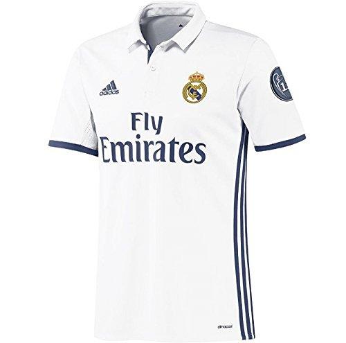 adidas H JSY Y LS Camiseta 1ª Equipación del Real Madrid CF 2015/16, Niños, Blanco/Morado, 13-14 años