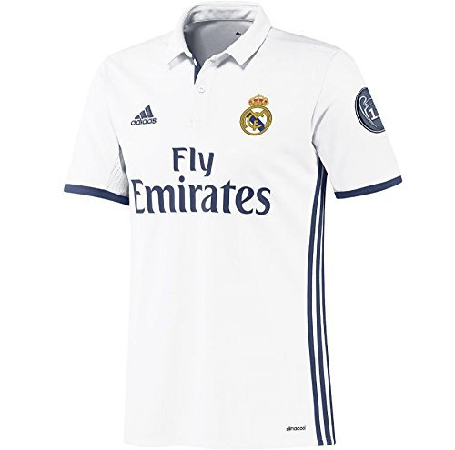 adidas Boy s Real Madrid H Jsy Y Uc 1st Football Kit T-Shirt  Multicolor  White Purple   9-10 Years  140
