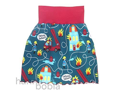 Mädchenrock aus Jersey mit Feuerwehr auf petrol mit rotem Bündchen, Größe 110/116, 95% Baumwolle, 5% Elasthan -