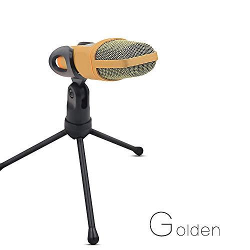 Professionelles Mini-Mikrofon für den Cardioid-Kondensator mit Stativ-Ständer 3,5-mm-Klinken-Desktop für PC, Laptop, iPhone, iPad, Android-Handys, Tablets, xBox und YouTube-Aufnahme von ZaxSound,Gold