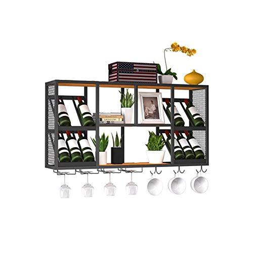 LIXILAN RACK Hängende Decke Zwei-in-Einem, Schmiedeeisen, massives Holz, einfacher industrieller Wind, 120 x 60 cm, Schwarz -