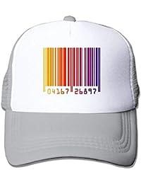 Rundafuwu Gorras de béisbol/Hat Trucker Cap Bar Code Stripe Clipart Rainbow Mesh Unisex Snapback