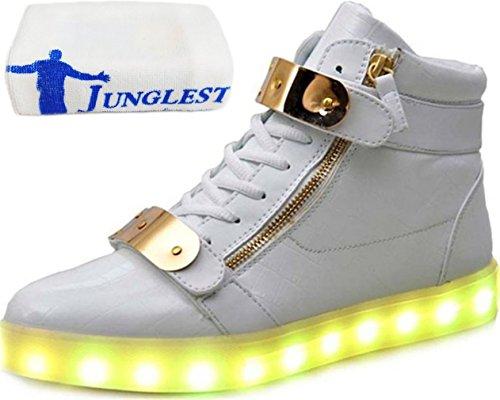 (Présents:petite serviette)JUNGLEST® - 7 Couleur Mode Unisexe Homme Femme USB Charge Lumière Lumineux Clignotants Chaussures de marche LED Ch Blanc