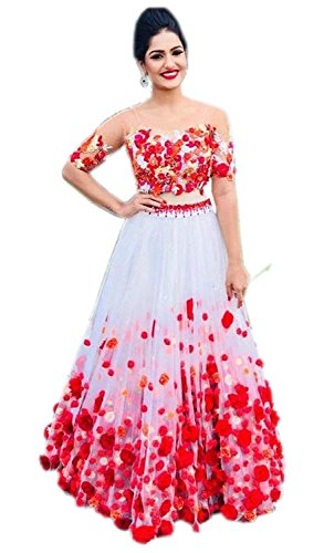 Clickedia Women\'s Net Tafetta Lehenga Choli With Blouse Piece_White_Pink_Free Size