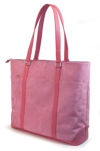 Faux Suede Tote Bag (Mobile Edge Caring Case Laptop Tote Bag, Pink Faux-Suede, Fits 16 Inch PC and 17 Inch MacBook, SafetyCellTM Computer Protection Compartment, for Women, Business, Students METXK4)