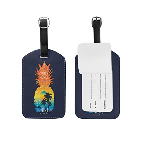 Buckle Flap Bag (Coconut Tree on Pineapple Leather Travel Luggage Tags Set Funny Personalized PU Bag Suitcase Labels with Strap Cable Identification Card for Women Kids Men Girls Boys 1 Pieces Set)